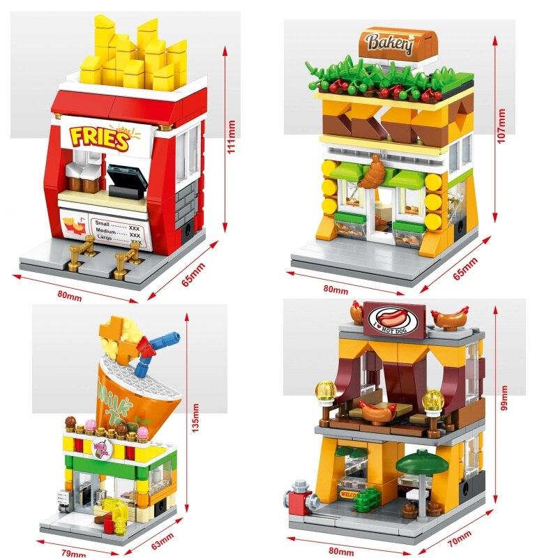 Blocos sembo mini loja de alimentos modelo de plástico brinquedo de construção pequena rua loja educacional crianças brinquedos presentes das crianças brinquedo
