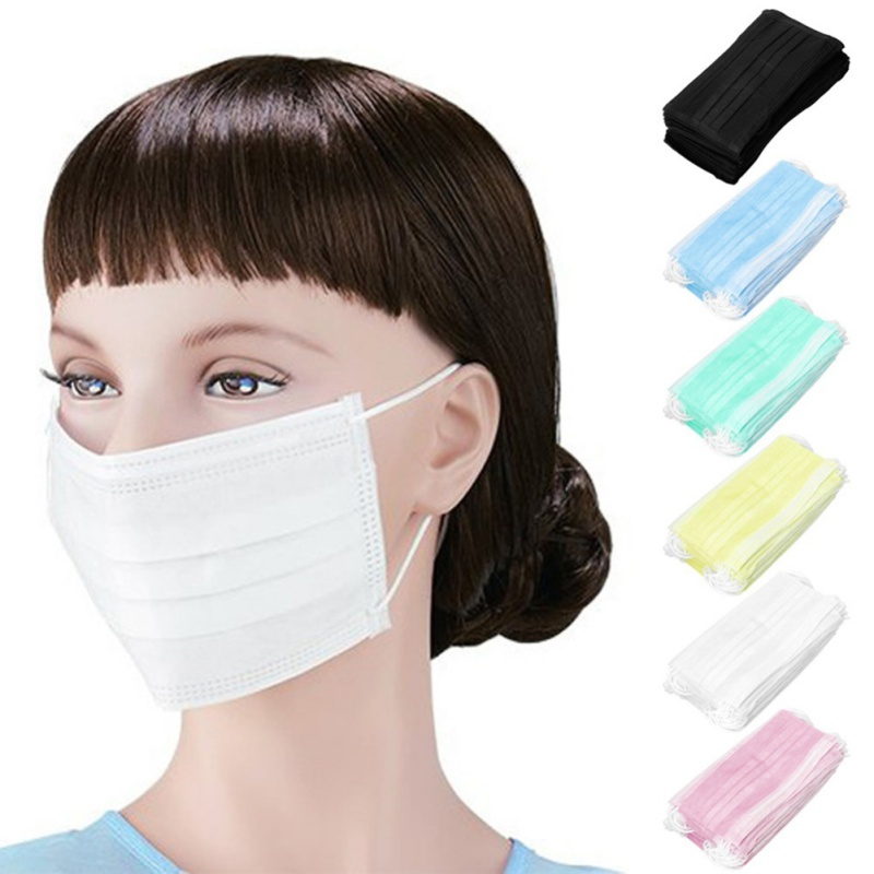 New 50Pcs Non-woven Fabric Disposable Mouth Masks Adult Anti Haze Mask Anti-dust Mouth Masks Windproof Mouth Face Masks