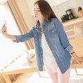 Дешевые и Высокое Качество Женщины Vintage Джинсы Рубашки С Длинным Рукавом Повседневная Рубашка Топы