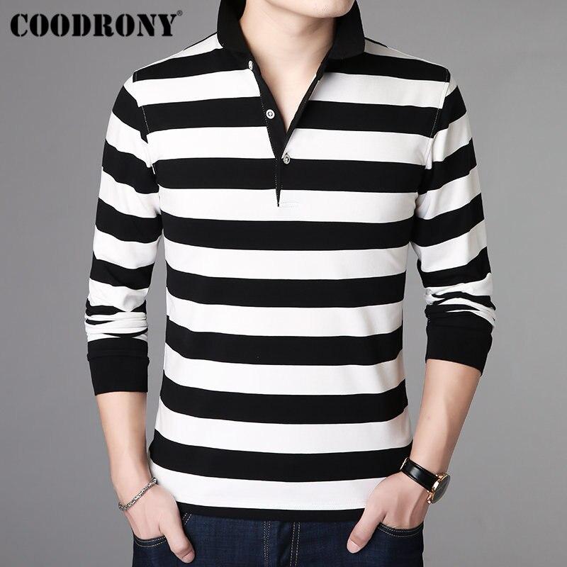 Masculina de Algodão Coodrony Listrado Casual Streetwear Tshirt Manga Longa t Camisa Macio Homme Turn-down Colarinho Masculina 95013