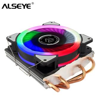 ALSEYE CPU Cooler 4 ciepła rur z 4 Pin RGB CPU Fan Cooler dla LGA 1155/1151/1150 /1366/AM2 +/AM3 +/AM4