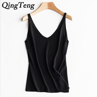 QingTeng Women Sexy Faux Silk Vest Crop Tops Lace Black V Neck Sleeveless Tank Tops Shirt