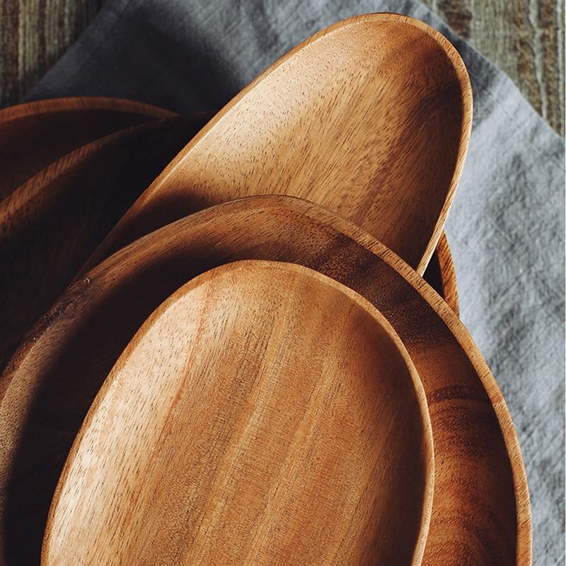 Wooden Plate Irregular Acacia Wood Plate Cake Dish Fruit Dessert Serving Platter Wood Tray Sushi Plate Small Coffee Tea Tray Wood Tableware (9)