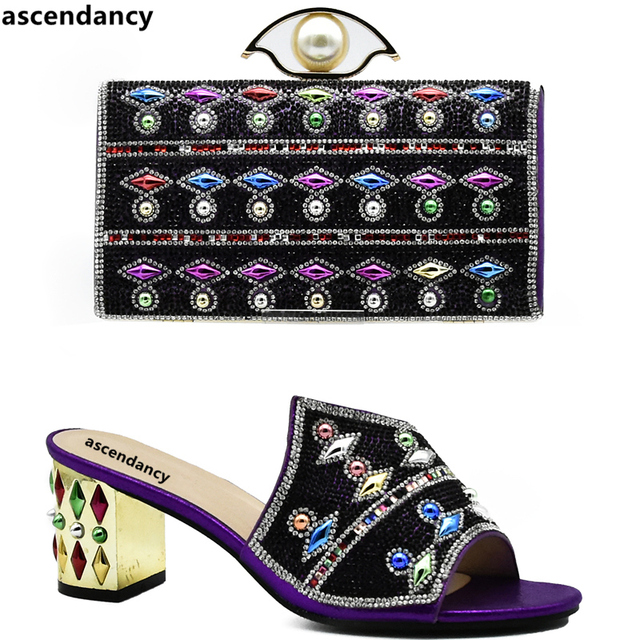 Latest Purple Color African Matching Shoes and Bags Italian In Women Matching Italian Shoe and Bag Set Decorated with Rhinestone