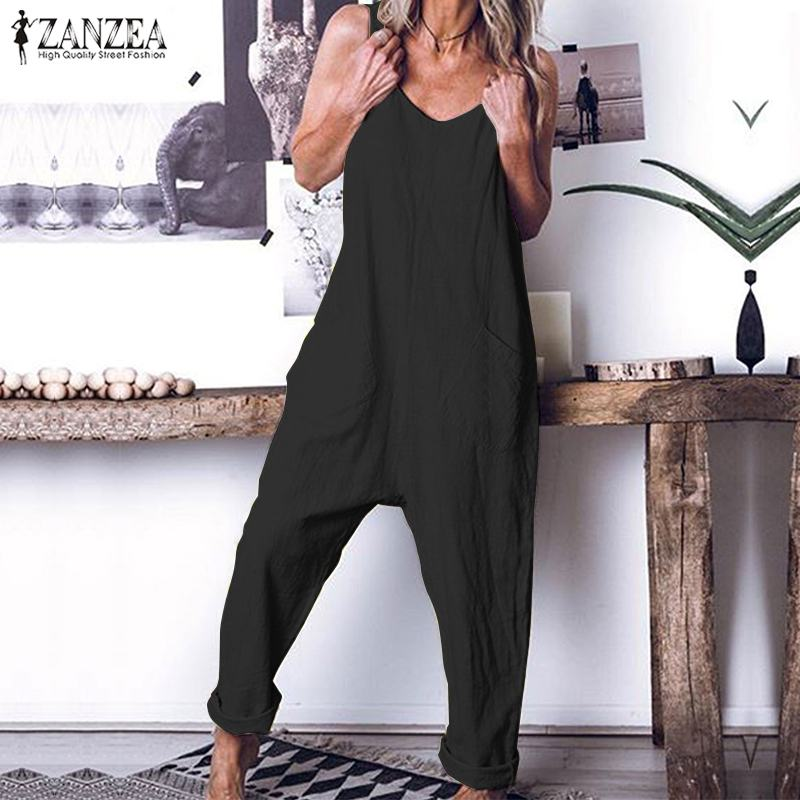 Vintage Linen Jumpsuits Women's Summer Overalls ZANZEA Casual Strap Playsuits Female Backless Rompers Plus Size Trousers Pants