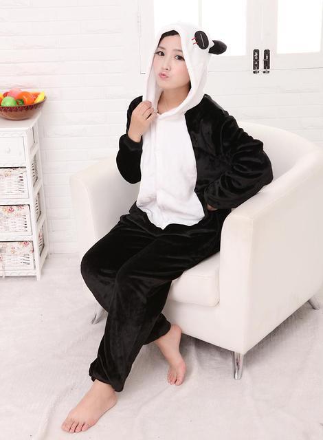 freepp New Anime Pajamas Panda Cosplay Costume Pyjamas Hoodies Adult Cartoon Animal Onesie Sleepwear Size M L XL