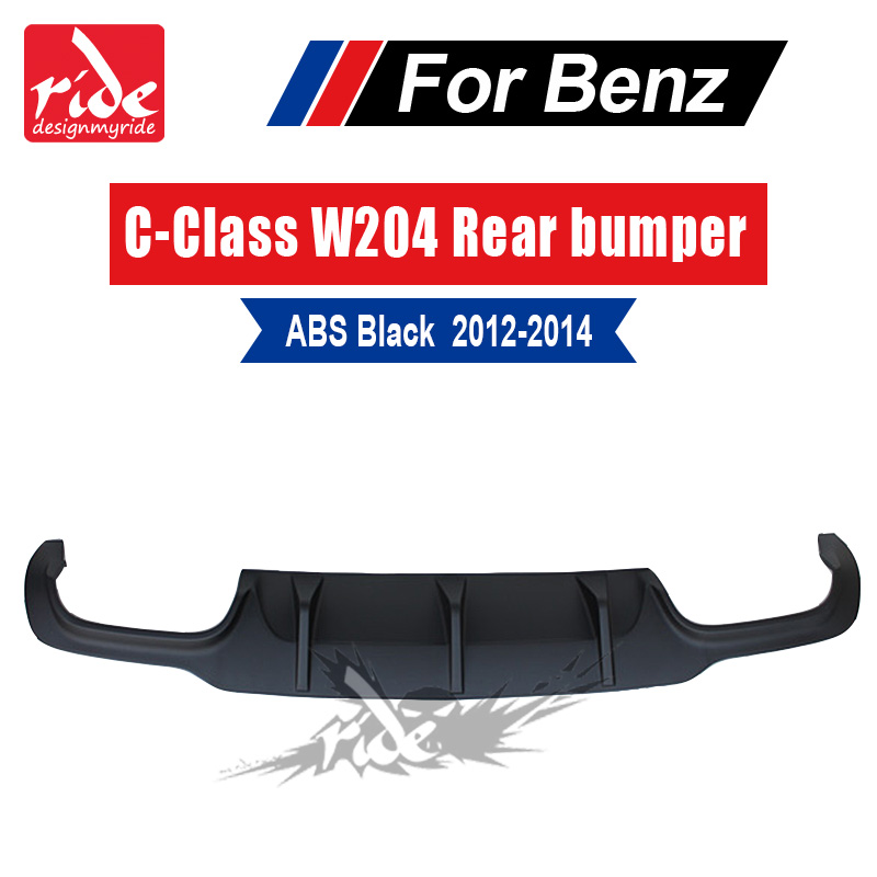 W204 ABS High-quality Black <font><b>rear</b></font> bumper lip <font><b>diffuser</b></font> For Benz No hole bumper C-Class C180 C200 C250 <font><b>C300</b></font> C350 C400 & C63 2012-14 image