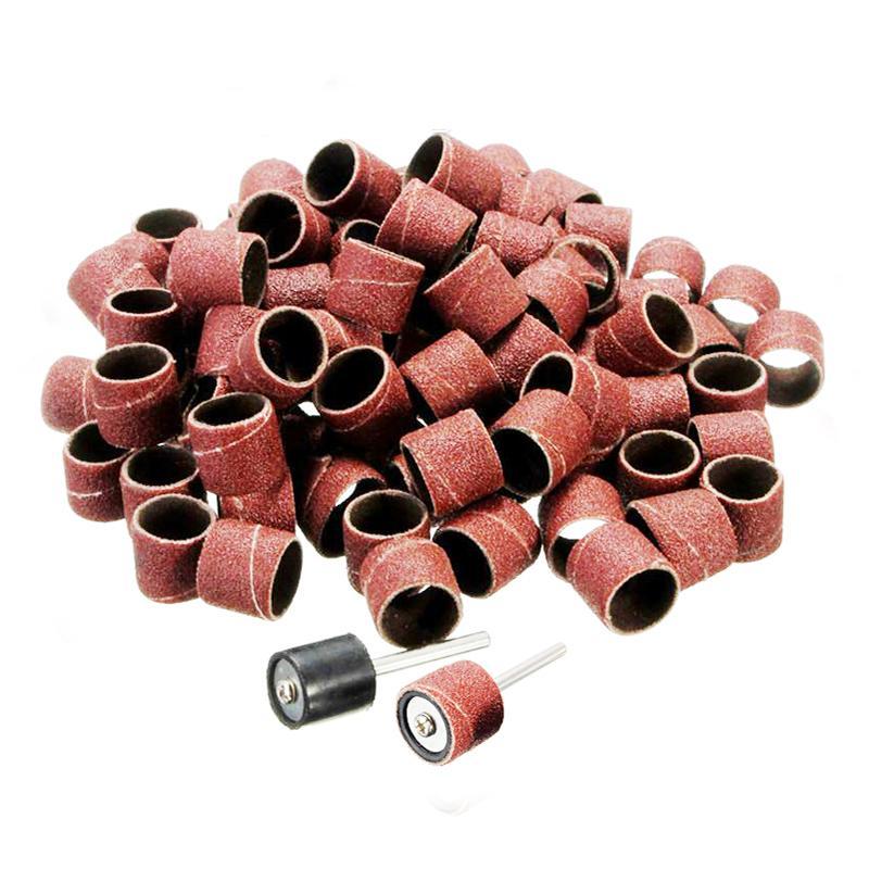 100vnt 1/2 1/4 šlifavimo rankovės elektriniams įrankiams dremel aksesuarai sukamasis įrankis medienos apdirbimas šlifavimo popierius šlifavimo disko poliravimas