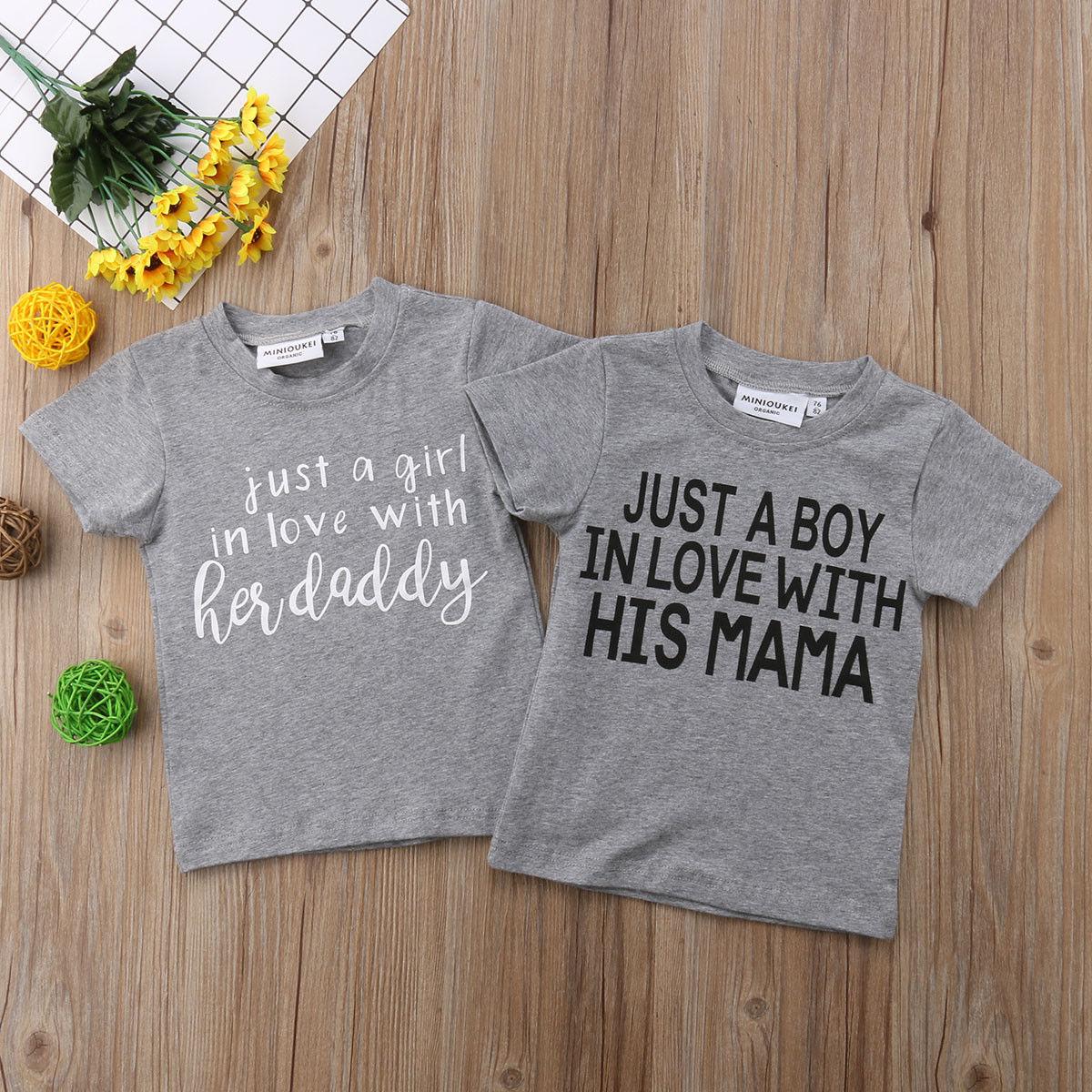 8e657d5cf 2018 neue Kinder Baby Mädchen Jungen Kurzarm Grau Papa Mama Tops T-shirt  Bluse T