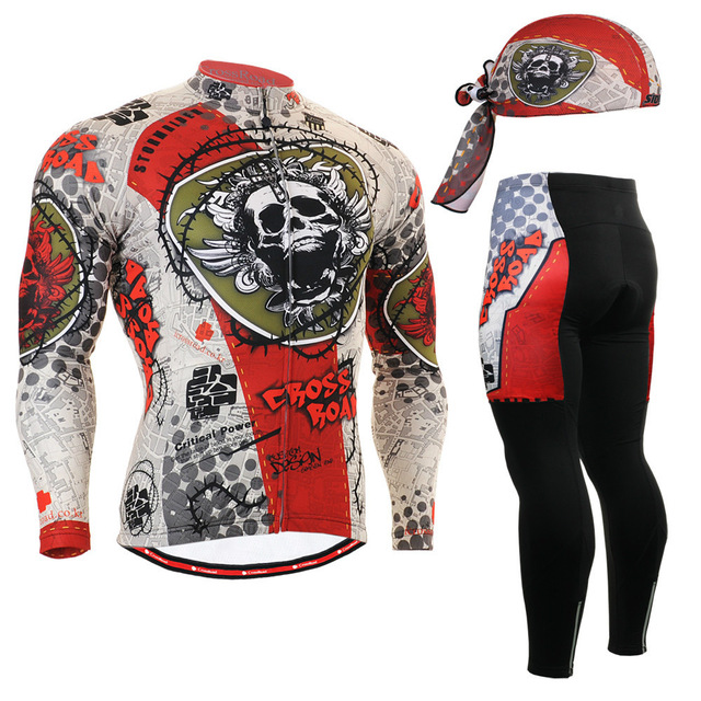2016 cycling sport sets free bicycle jerseys with skulls 3d gel padded tights cool gift rock riding team custom uniform
