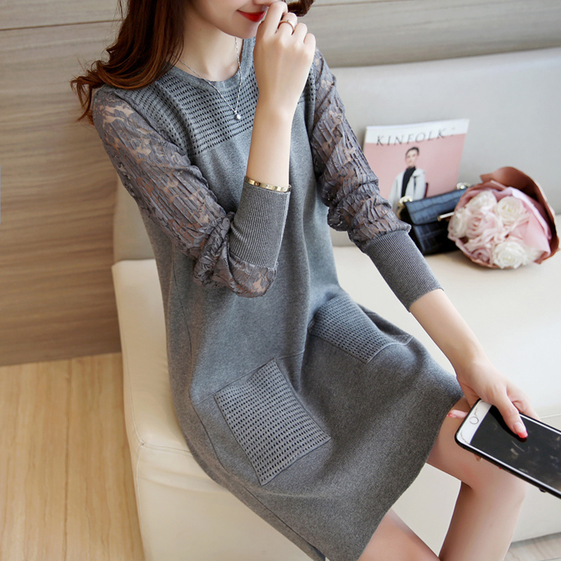 Womens Dress Autumn Winter Casual Women Straight Lace Patchwork Sweater Dress Warm Black Gray Red Cotton Knitted Dresses D031