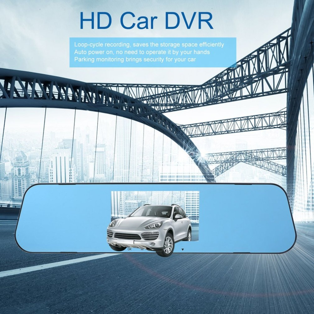 New 4.3-inch Car HD Rearview Mirror Dash Cam 1080P IPS Touch Screen 170C Wide Angle Truck Rearview Dash Camera Vehicle Recorder