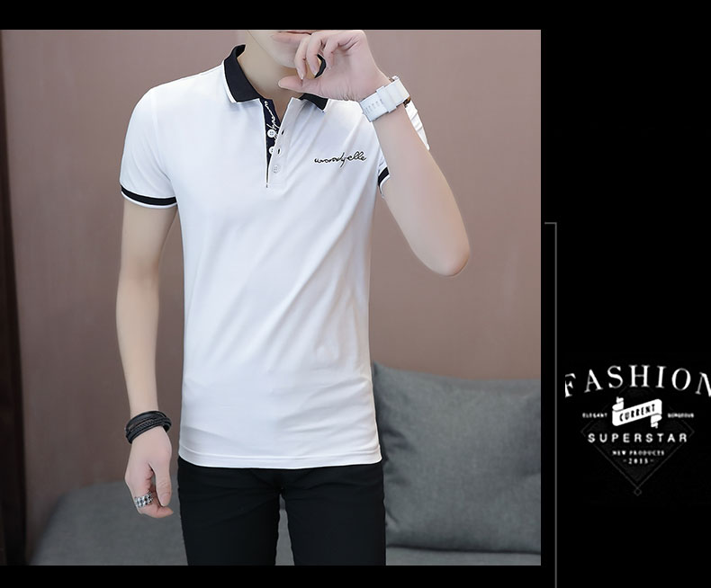Short-sleeved T-shirt men's fashion casual cotton clothes decorated with multi-color optional 84