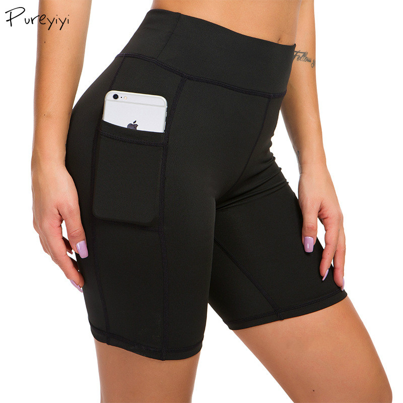 High Waist Yoga Shorts Women Sport Running Workout Short With Side Pocket Fitness Sports For Gym Running Yoga Sportswear Clothes