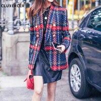 Blazer feminino New Fashion Runway 2018 Designer Blazer Women's Lion Metal Buttons Plaid Colors Tweed Wool Blazer Jacket