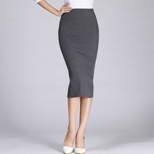 Autumn Winter Women Pencil Skirt High Waist Cotton Solid Color Stretch Elastic S