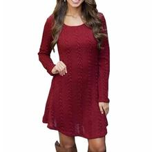 5XL Casual Knitted Dress Solid Loose Autumn Winter Dress Women O Neck Long Sleeve Knitted Sweater Dresses Large Size Vestidos цены