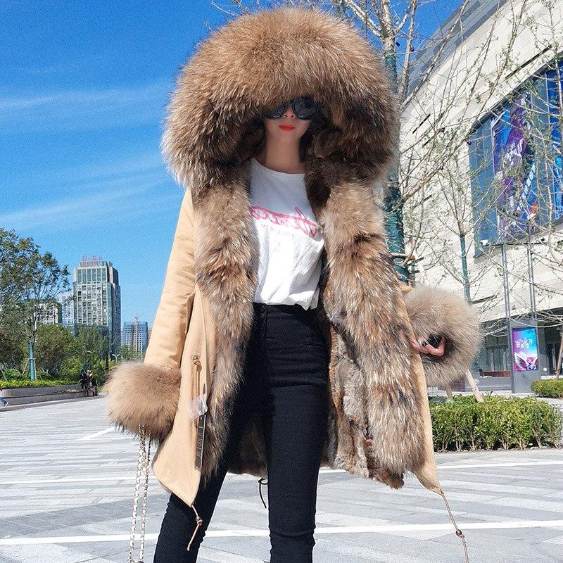 2018 Nuovo lungo di pelliccia parka di inverno delle donne del rivestimento più il formato cappotto di pelliccia reale del coniglio del rex fodera in pelliccia grande pelliccia di procione collo con cappuccio abbigliamento