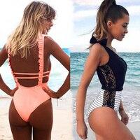 Sexy One Piece Swimsuit Women 2018 Summer Beachwear Lace One Shoulder Swimwear Bathing Suits Bodysuit Monokini