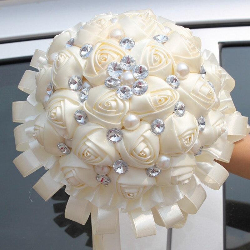 Cheap Ivory Cream Bridal Wedding Bouquet Pearls Beaded Holder Flower Pretty Silk Ribbon Ornaments Bouquets Custom