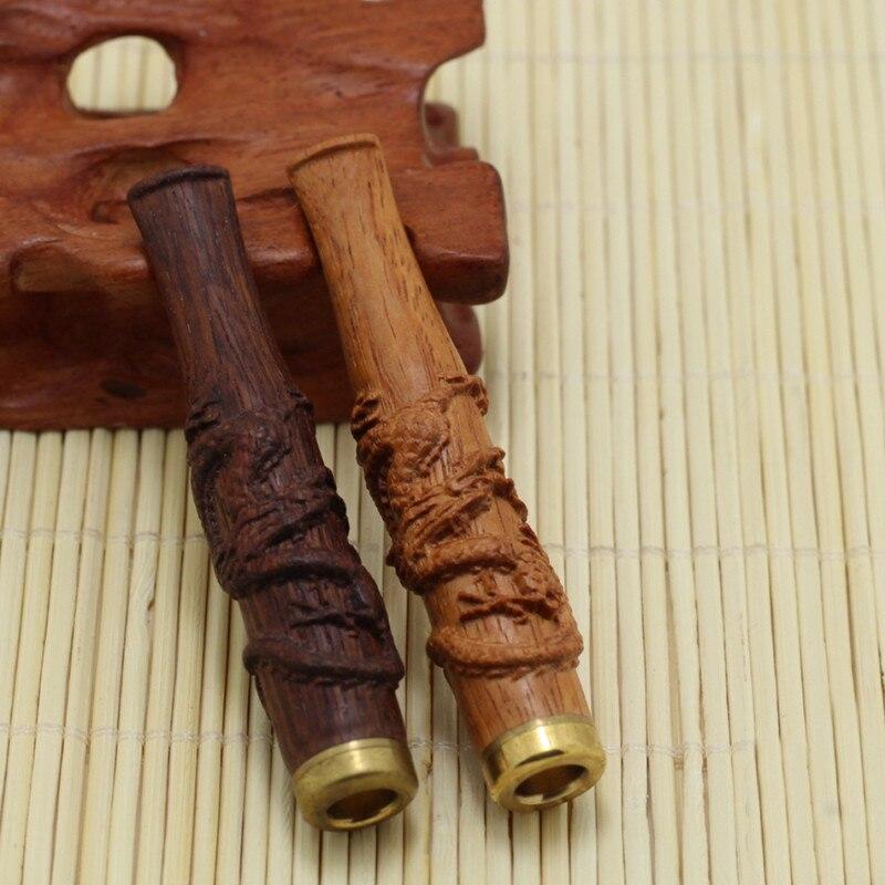 Bois de santal Cigarette Filtre Jaune Pipe En Bois De Rose Sculpture Fine Loong Pull Rod Cyclique De Filtration En Bois Titulaire W/Cadeau Boîte COH13