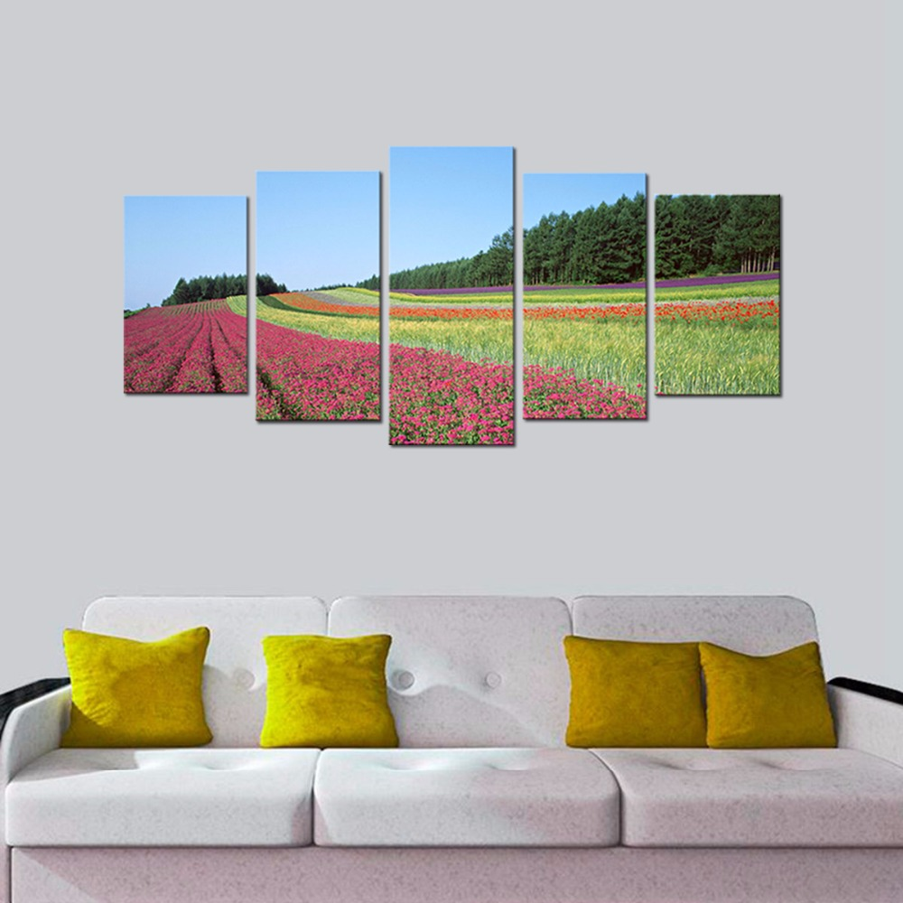 Modern Canvas Prints Floral Artwork-Contemporary Flower Field Landscape Pictures Spray Printing on Canvas Art Prints Home Decor