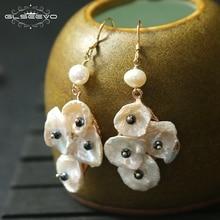 XlentAg Original Designer Natural Baroque Fresh Water White Pearl Dangle Earrings Women Bijoux Luxury Chandelier GE0459