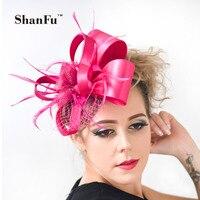 ShanFu Women Satin Fascinators with Headband Wedding Accessories with Clip Bridal Fascinator Hats Champagne,White SFC1990