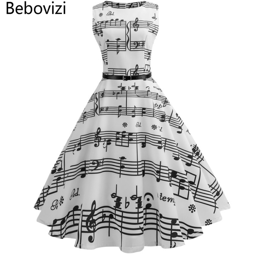Bebovizi Women Summer Vintage Dress Color Clothing Musical Note Floral Robe Retro Swing Casual 50s Rockabilly Dresses Vestidos