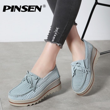 PINSEN 2019 Spring Women Flat Platform Shoes Casual Sneakers Tassel Cutouts Leather Suede Slip On Shoes Woman Creepers moccasins
