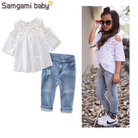 SAMGAMI BABY Retail Hot Sale Girls Clothing Sets New Summer Fashion Style White Embroidered Tops Jeans