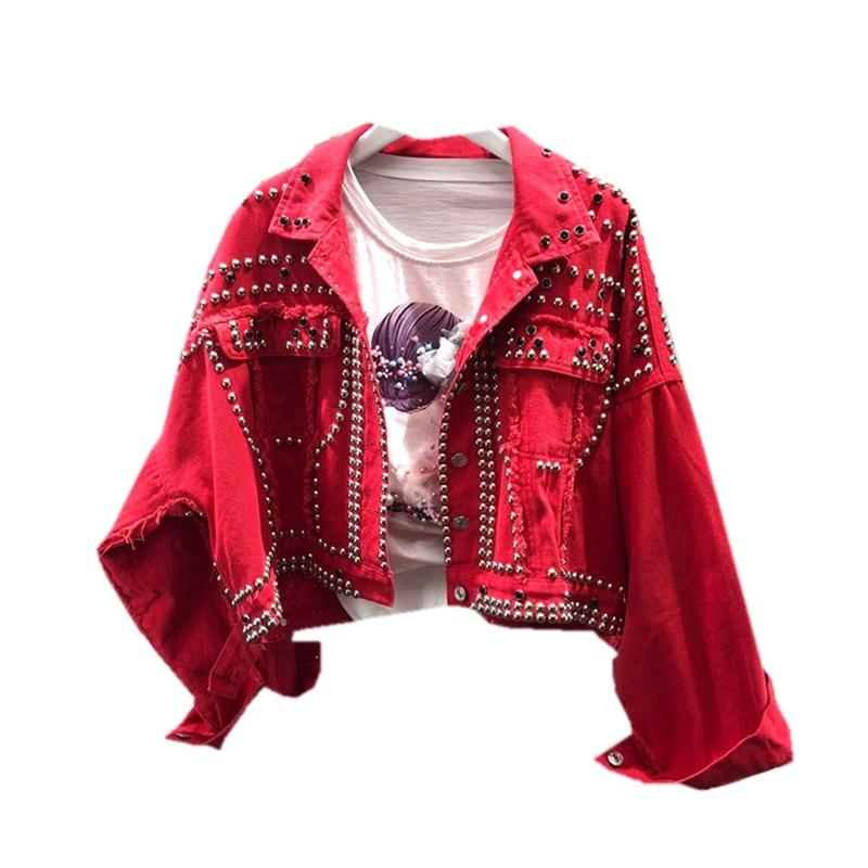 Vestes Grande 2018 À Vêtements Étudiant Décontracté Jean Manches Veste Taille En A49 De Base Denim Femmes D'extérieur Rouge Longues Rivet Automne UqXCzqY