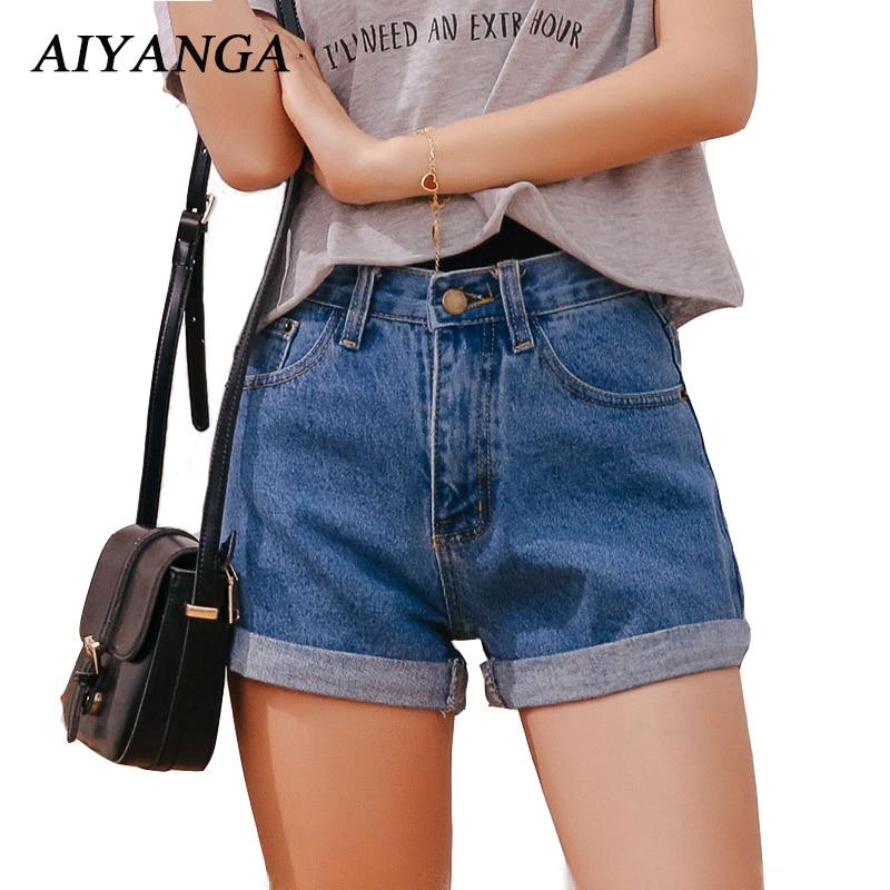 Denim Shorts For Women 2018 Summer New Trendy Casual Womens High Waist Shorts Roll Up Hem Denim Short Pants Girls Blue Beige