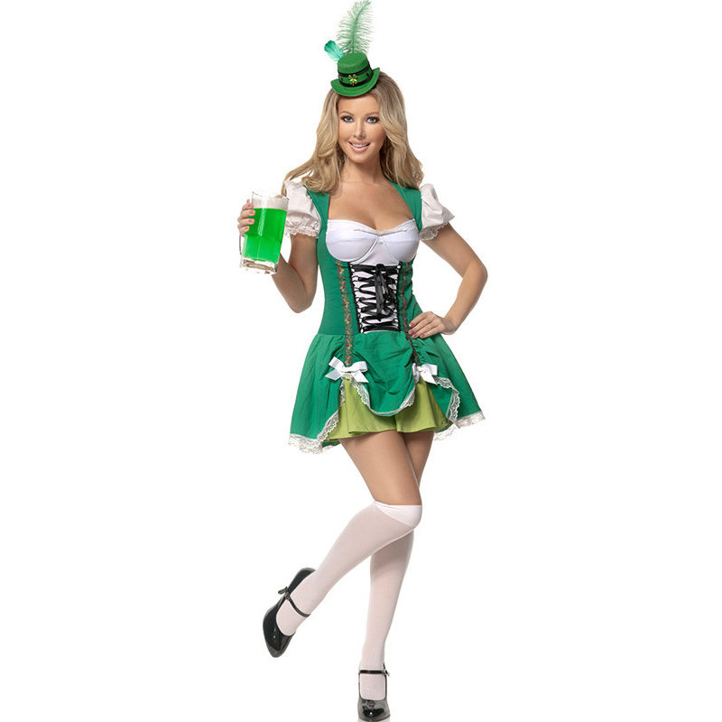 Waitress Halloween Costume sexy 1950s adult costume 50s waitress soda pop holiday adds Beer Bar Coffee House Waitress Maid Costume For Woman Oktoberfest Halloween Costumes Luck Of The Irish