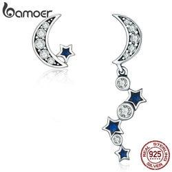 BAMOER Authentic 925 Sterling Silver Crescent Half Moon & Star Dazzling Blue CZ Drop Earrings for Women Jewelry Bijoux SCE127