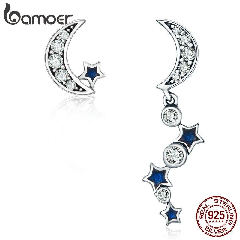 BAMOER auténtica Plata de Ley 925 de la Media Luna Roja media luna y deslumbrante estrella azul CZ pendientes para las mujeres joyería Bijoux SCE127
