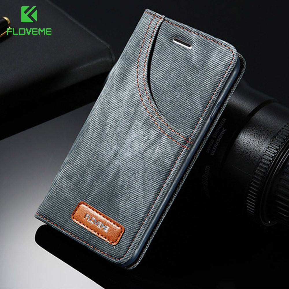 FLOVEME Phone Case For iPhone 6 6S 7 Plus Leather Jean Denim Cloth Anti-knock For iPhone 7 6 6s Cases...  iphone 7 cases with card holder | Top 10 iPhone 7 Wallet Cases – Do you need a full wallet replacement or something on the go? FLOVEME Phone font b Case b font For font b iPhone b font 6 6S font