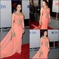 Elegante Vestido popular Choice Awards Demi Lovato Classic Sweetheart Rebordeó La Gasa Larga Vestidos de La Celebridad Por Encargo