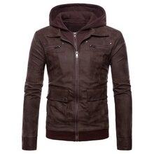 Новая брендовая мужская кожаная куртка, мужские теплые зимние кожаные пальто с капюшоном, мужские мотоциклетные пальто большого размера, одежда