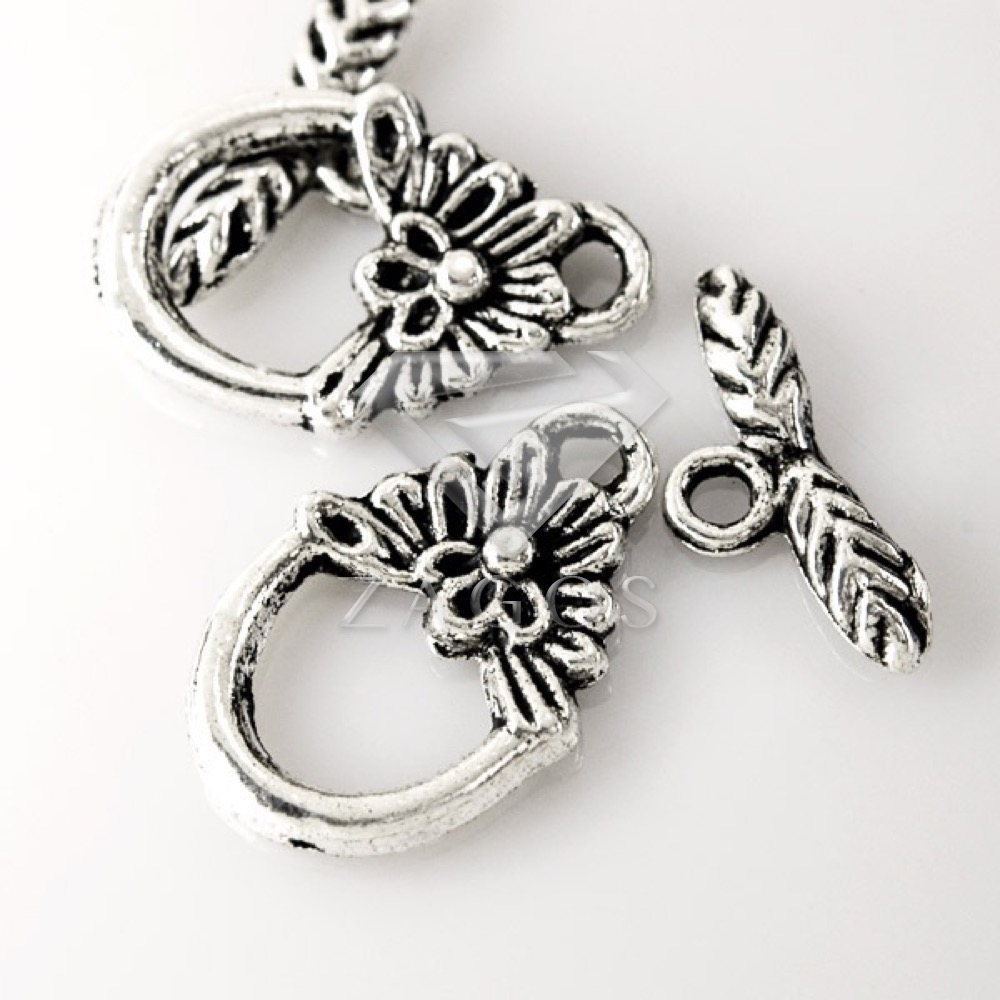 50Pcs Tibetan/Antique Silver Tone Flower Round Bar Ring Toggle Zinc Alloy Jewellry Making Findings F Bracelet Necklace TS0034