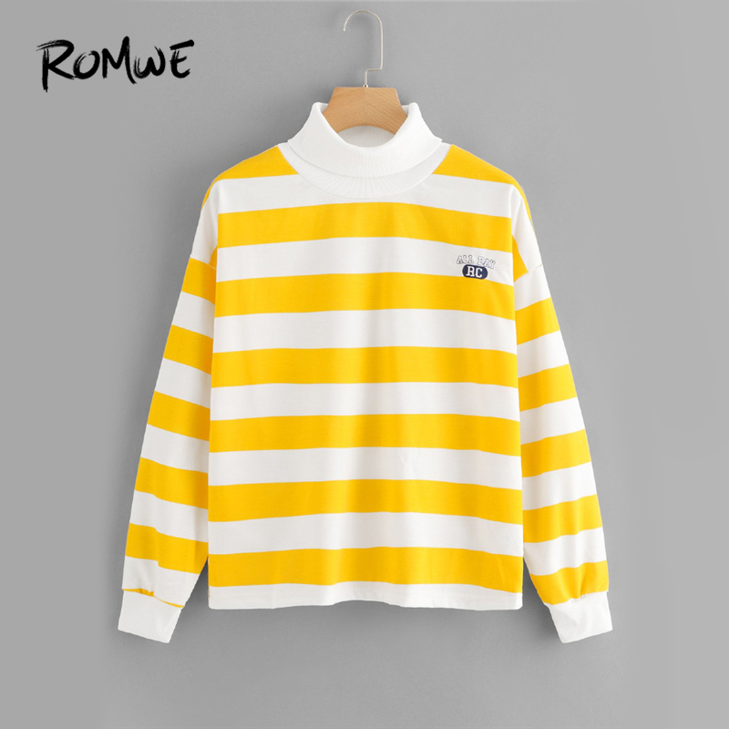 ROMWE Yellow Striped High Neck Embroidered Sweatshirt Women Casual Clothes 2019 Autumn Womens Fashion Clothing Female Pullover