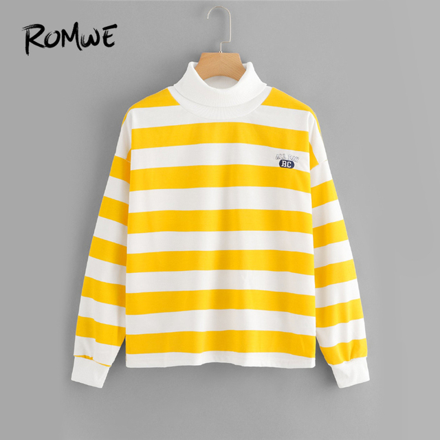 f5ec4c285db ROMWE Yellow Striped High Neck Embroidered Sweatshirt Women Casual Clothes  2019 Autumn Womens Fashion Clothing Female Pullover