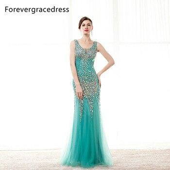 7cb3b0775 Forevergracedress real Pictures Mint vestido de fiesta Venta caliente nuevo  trasero largo tul con cuentas de cristal vestido formal del partido más  tamaño