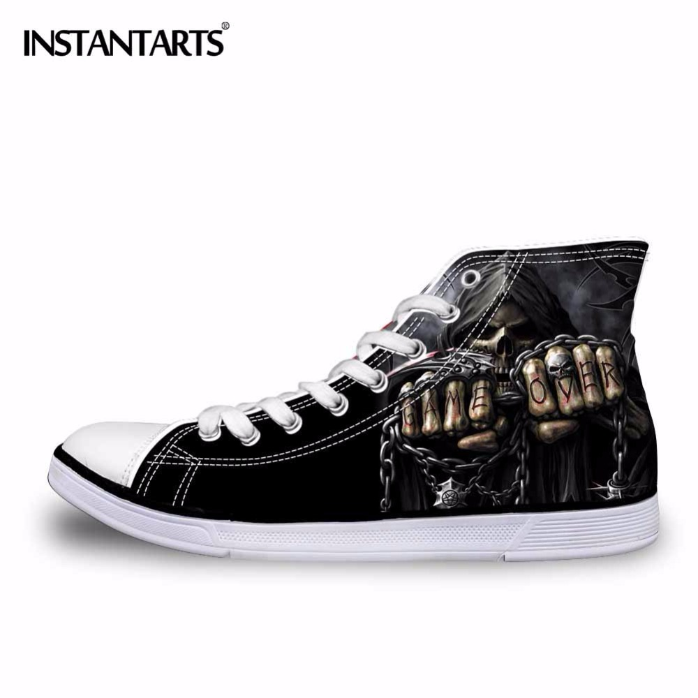Bright Forudesigns Fashion Mens High Top Vulcanize Shoes Classic Male Lace-up Canvas Shoes For Man Cool Black Punk Skull Flat Shoes Shoes Men's Vulcanize Shoes