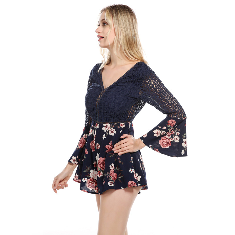 PZLCXH Rompers Womens Jumpsuit Sexy Lace Hollow Stitching Floral Trumpet Sleeves Short Jumpsuits Women V Collar Playsuit ZB227
