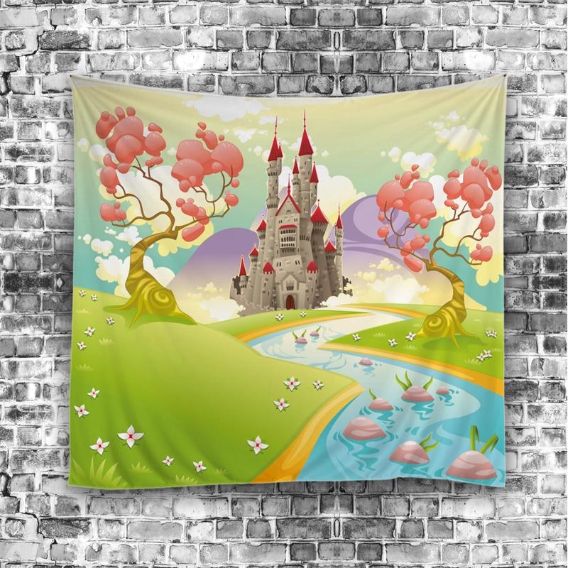 2017Nové zavěšené nástěnné koberce Anglie kreslený sen přírodní scénický vzor 9134 Tapiserie Domácí dekorativní tapiserie Přizpůsobitelné