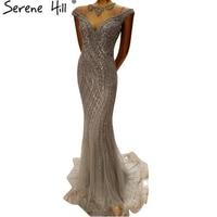 Luxury Dubai Arabic Gray Mermaid Robe De Soiree Sheer Evening Dresses Beaded Sequins Formal Dress Real Picture BLA6114