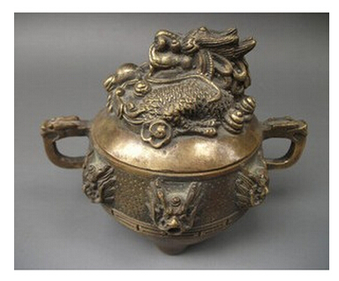 Chinese Asian antique Dragon bronze censer free shiping