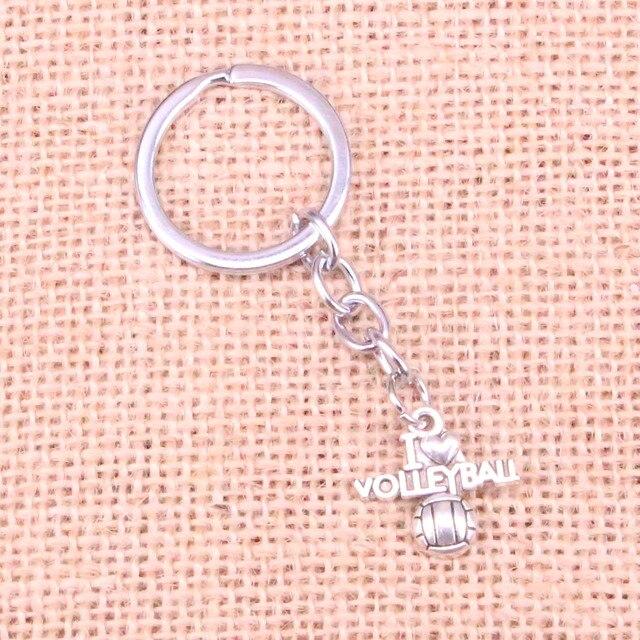 Novedad i love voleibol encanto colgante llavero cadena accesorios joyería para regalos