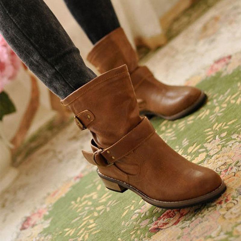Botas de Invierno para mujer, botas con hebilla de superestrella para motocicleta, zapatos para mujer, zapatos de moda 2018, zapatos clásicos de cuero pu para mujer, botas para mujer